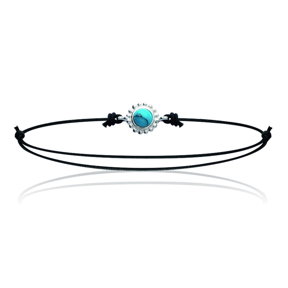Bracelet Argent \'Mineralia\' turquoise argenté noir - 7 mm - [K3856]
