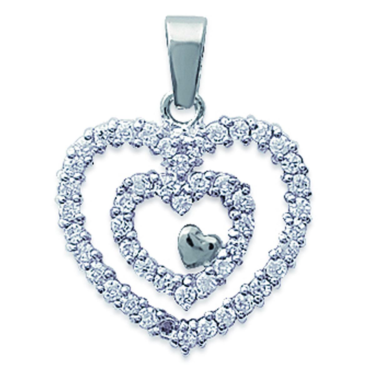 Pendentif Argent \'Gorgeous Love\' blanc argenté (rhodié) - 18x19 mm - [D6837]