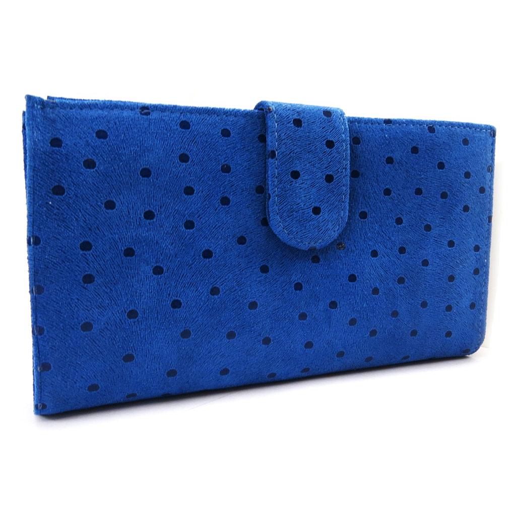 Compagnon Cuir \'Frandi\' bleu (petits pois) - [L7551]