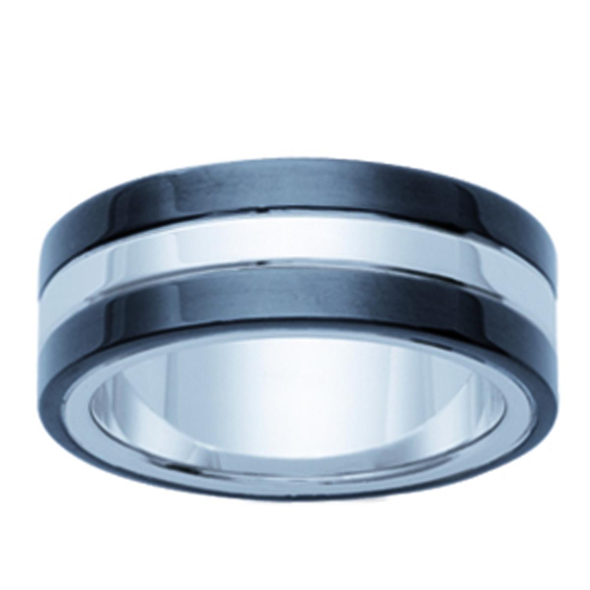 Bague acier \'Peaceful\' noir argenté - 8 mm - [H6284]