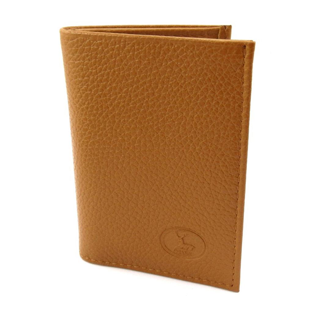 Porte-cartes Cuir \'Frandi\' cognac grainé - [K3979]