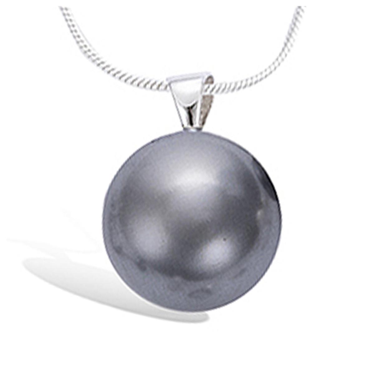 Pendentif Argent \'Perla\' gris (plate) argenté (rhodié) - 13 mm - [H0462]