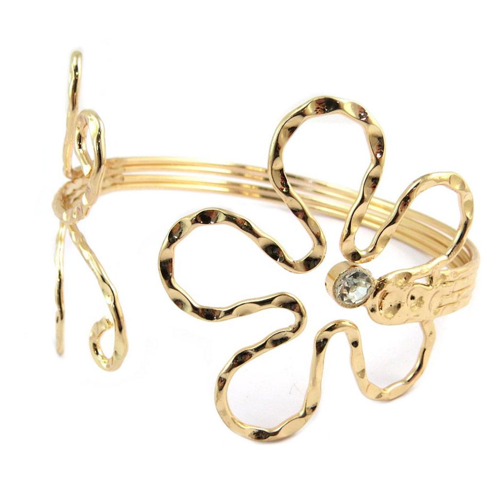 Bracelet bras créateur \'Cleopatra\' doré - largeur 60 mm - [P4809]