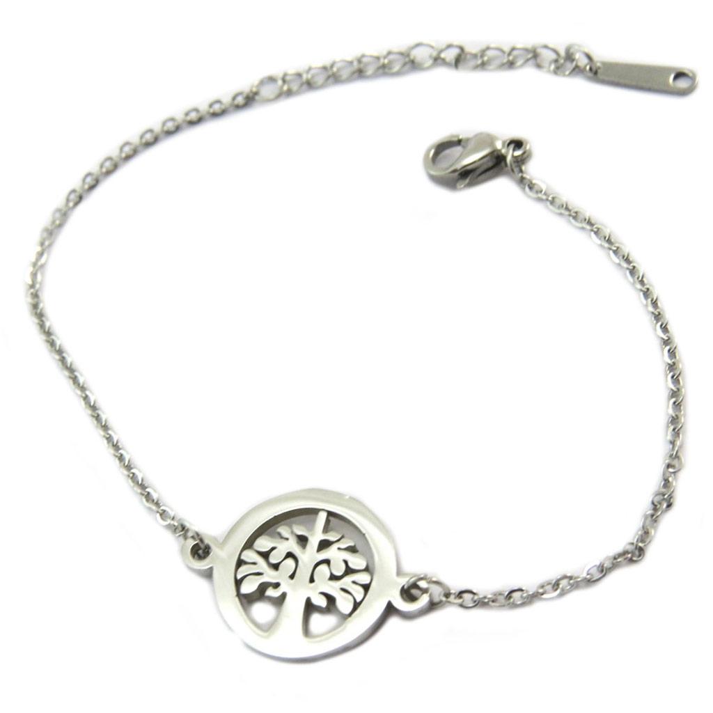Bracelet acier \'Arbre de Vie\' argenté - 15 mm - [P4880]