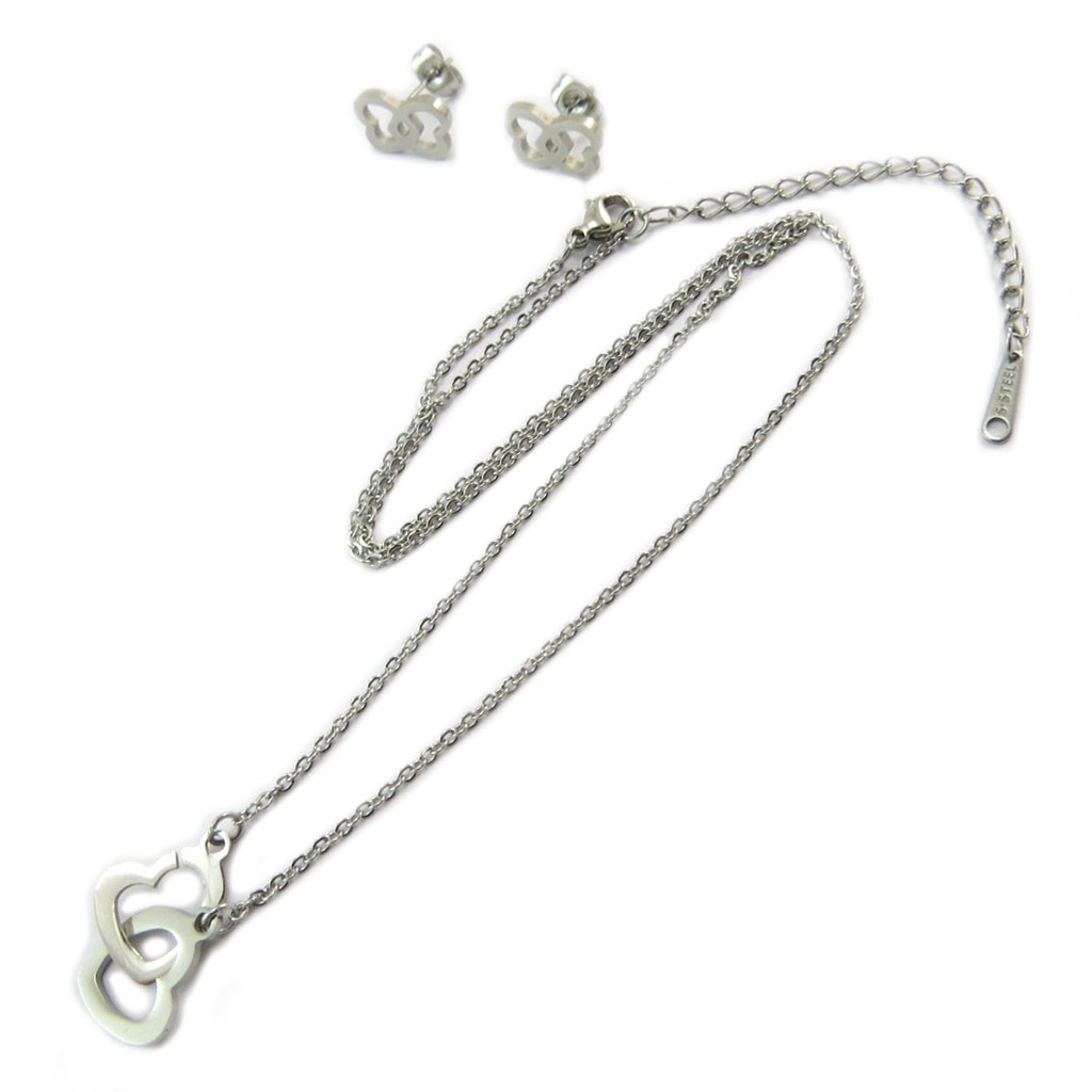 Parure collier + boucles acier \'Love\' argenté  - [P4896]