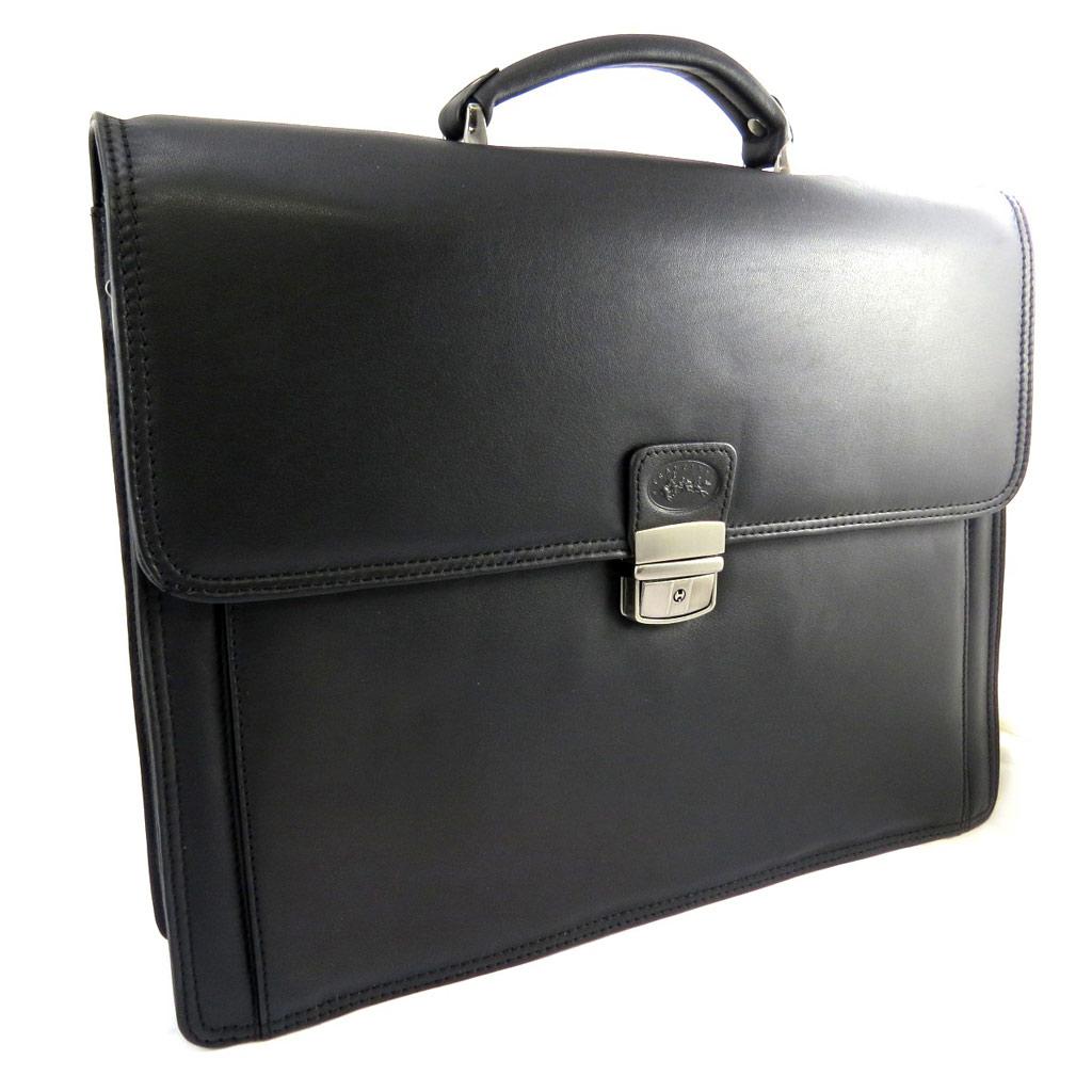 Serviette cuir \'Lafayette\' noir (2 soufflets) - 40x31x11 cm - [L8442]