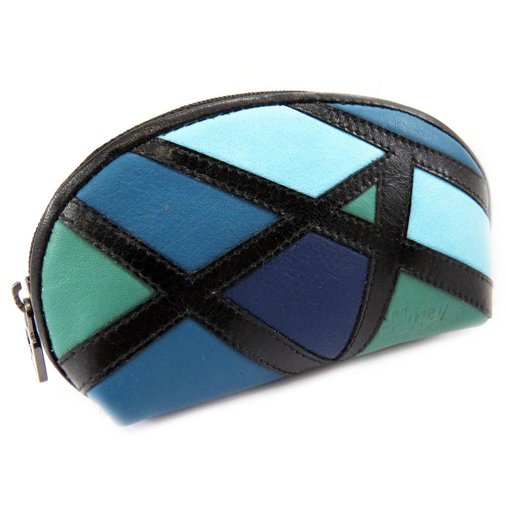Porte-monnaie zippé cuir \'Mundi\' bleu vert - [L8570]
