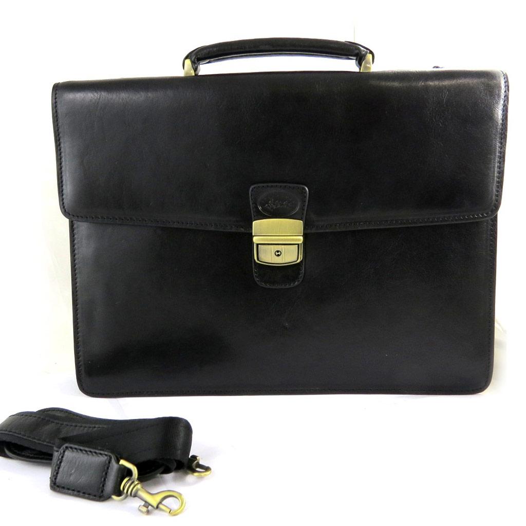Sacoche cuir \'Lafayette\' noir (1 soufflet) - [L8602]