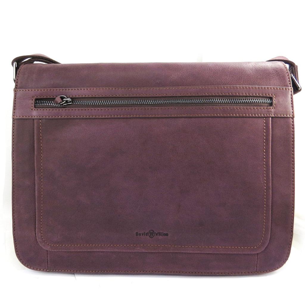 Sacoche cuir \'David William\' marron vintage - [L8627]