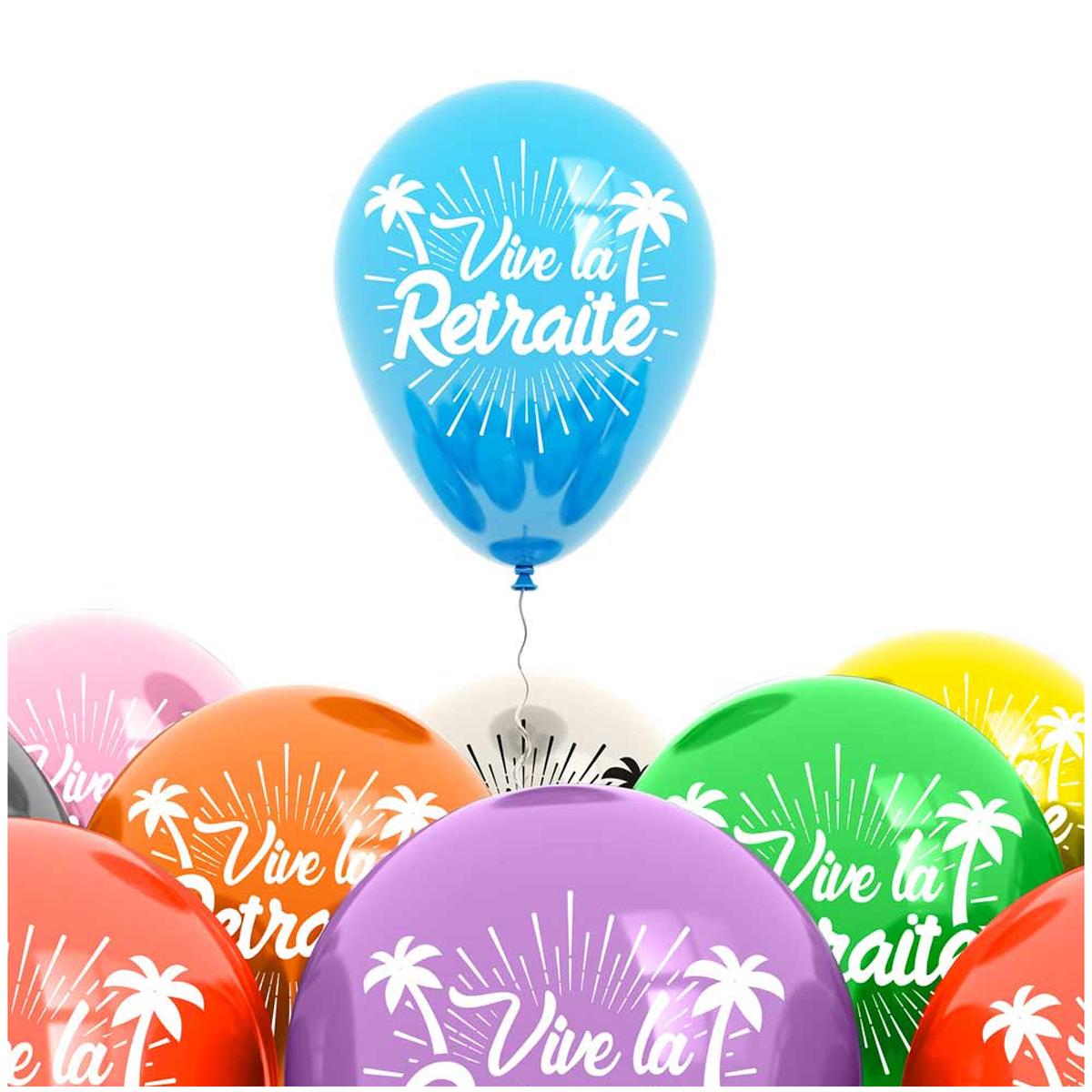Sachet de 8 ballons \'Vive la Retraite\' - 30 cm - [A0430]