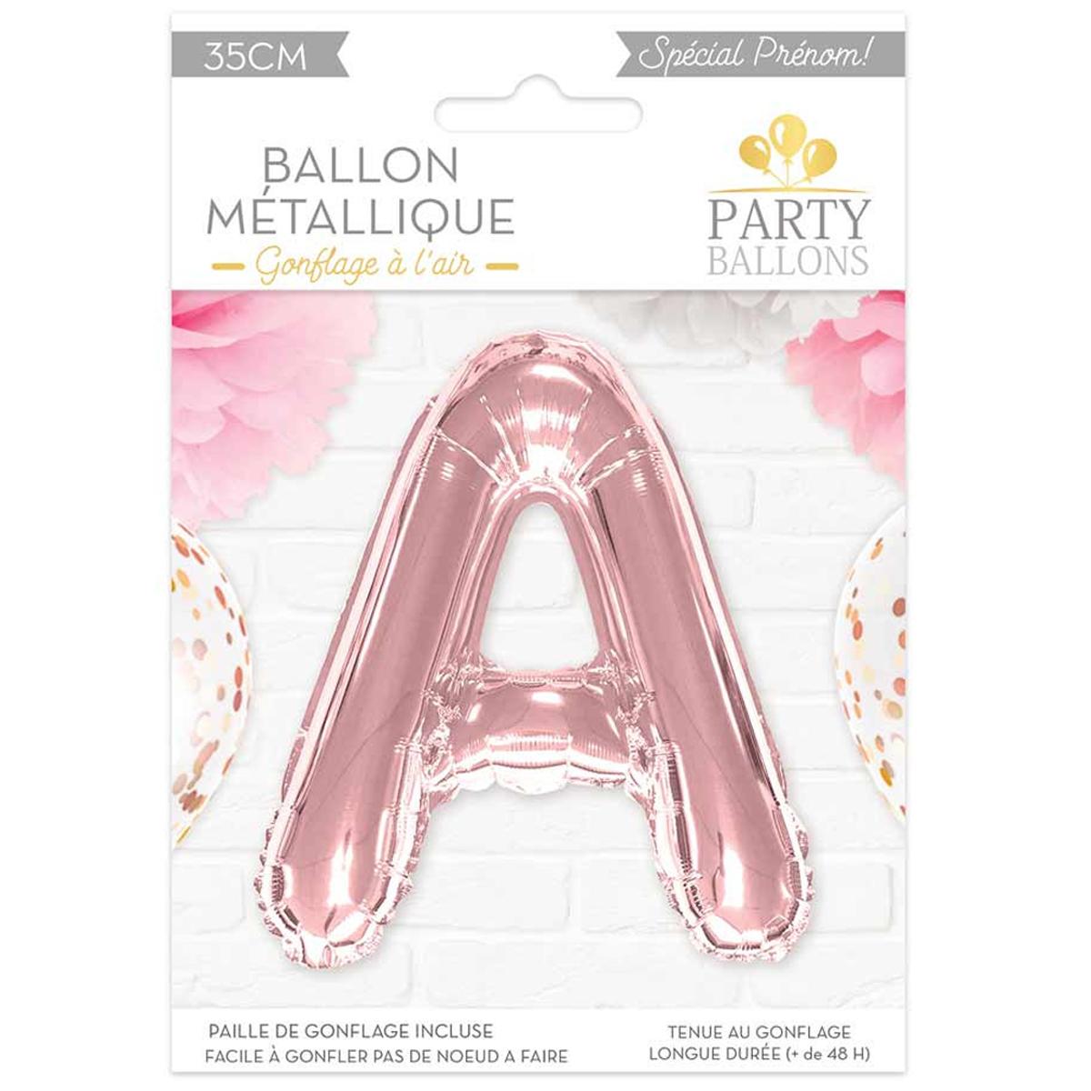 Ballon métallique \'Lettre A\' rosé - 35 cm - [A0431]