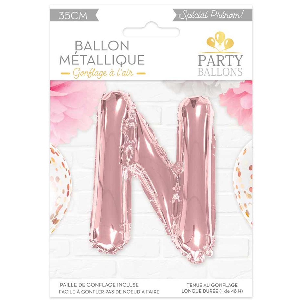 Ballon métallique \'Lettre N\' rosé - 35 cm - [A0444]