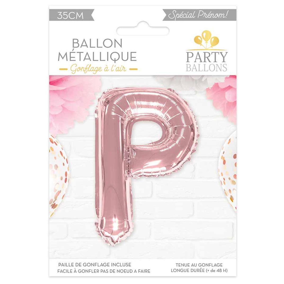 Ballon métallique \'Lettre P\' rosé - 35 cm - [A0446]