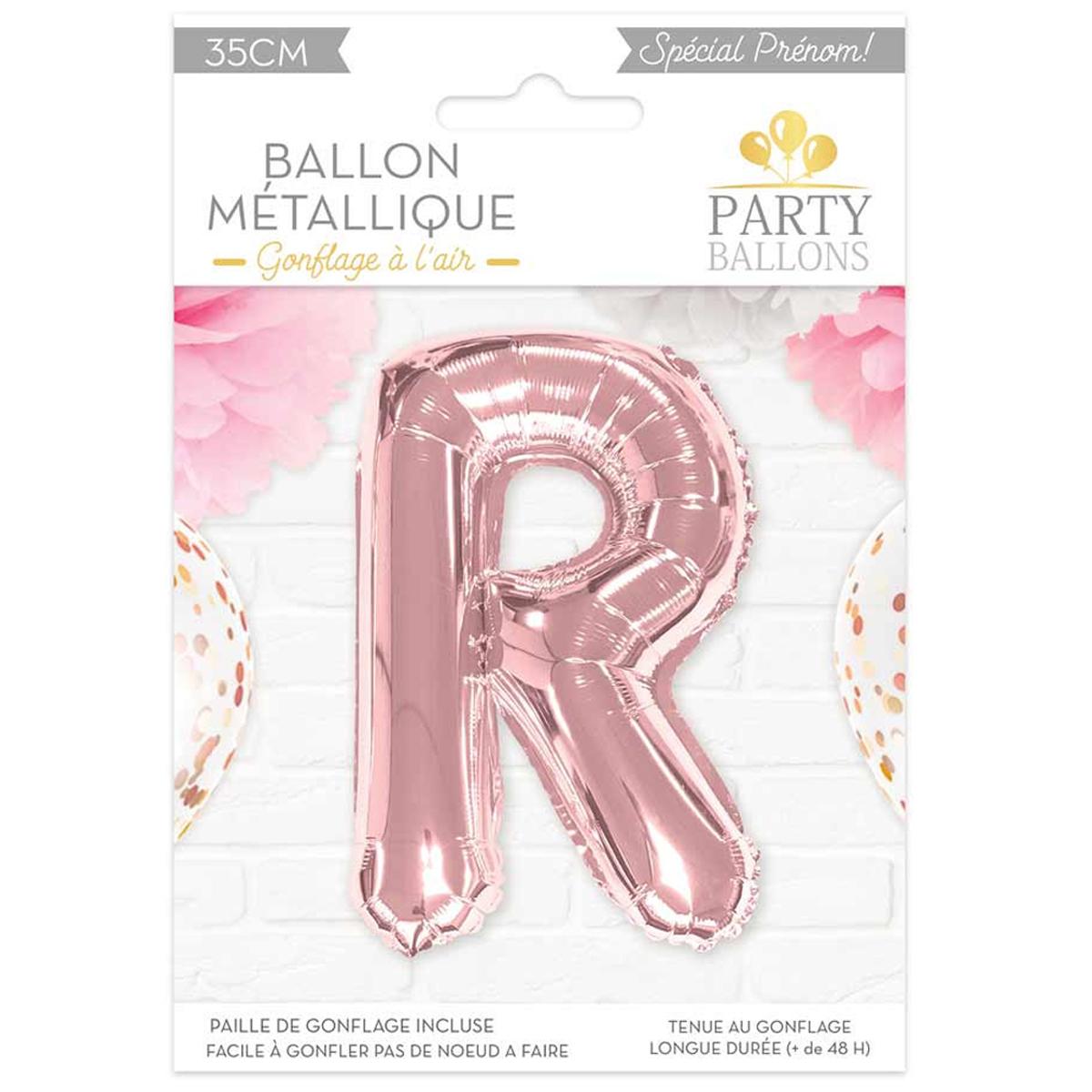 Ballon métallique \'Lettre R\' rosé - 35 cm - [A0448]