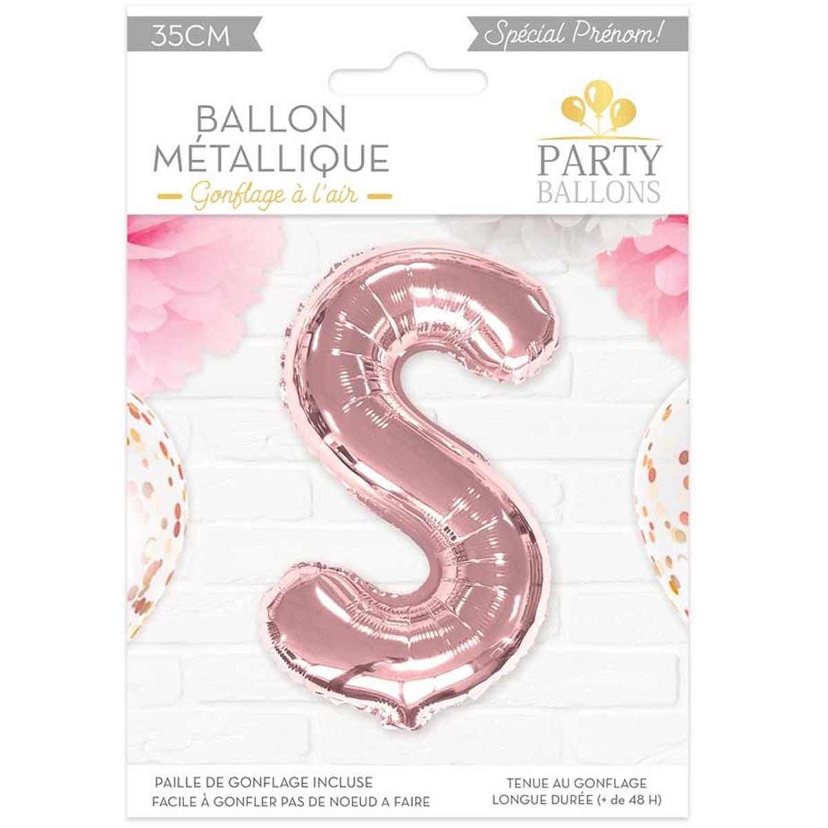 Ballon métallique \'Lettre S\' rosé - 35 cm - [A0449]