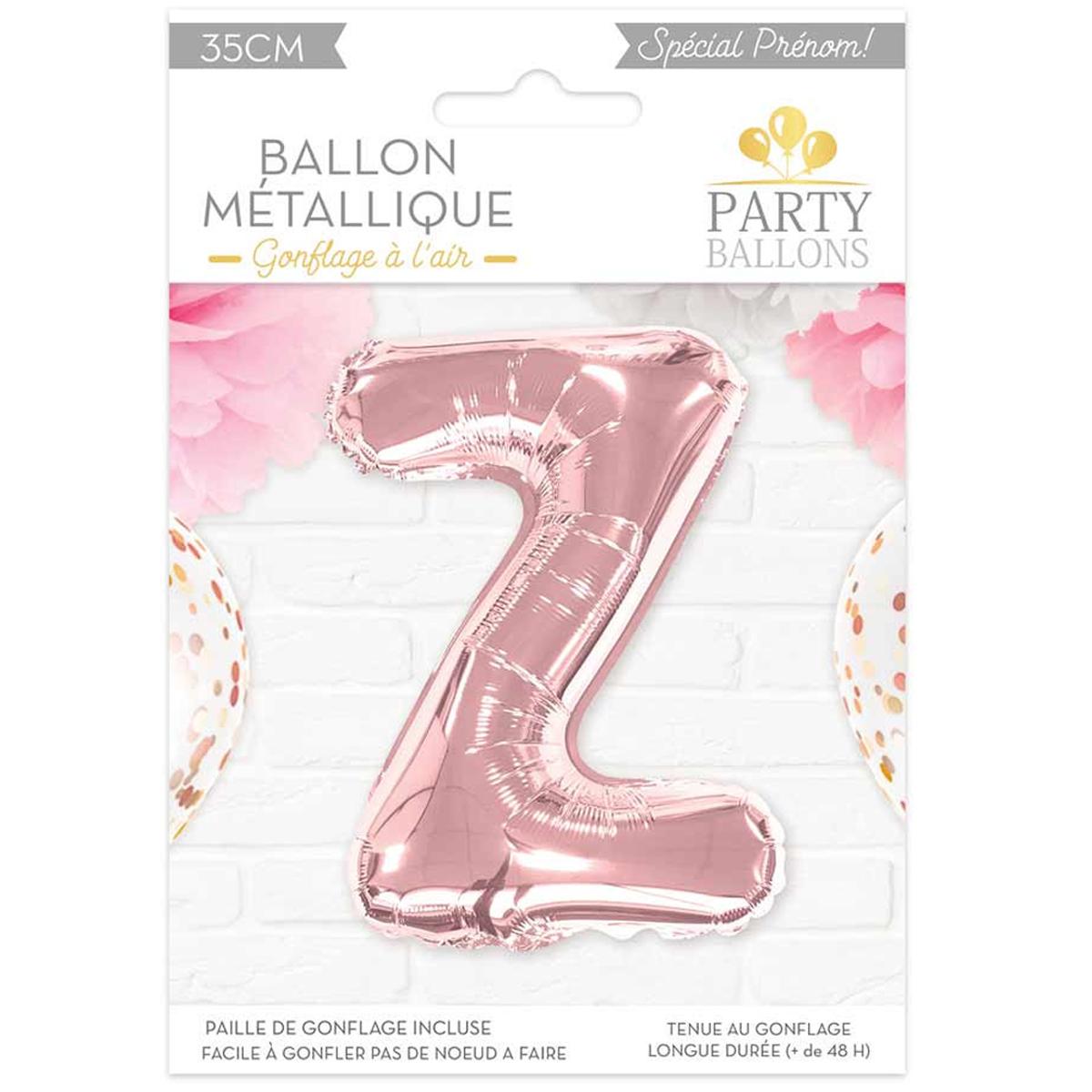 Ballon métallique \'Lettre Z\' rosé - 35 cm - [A0456]