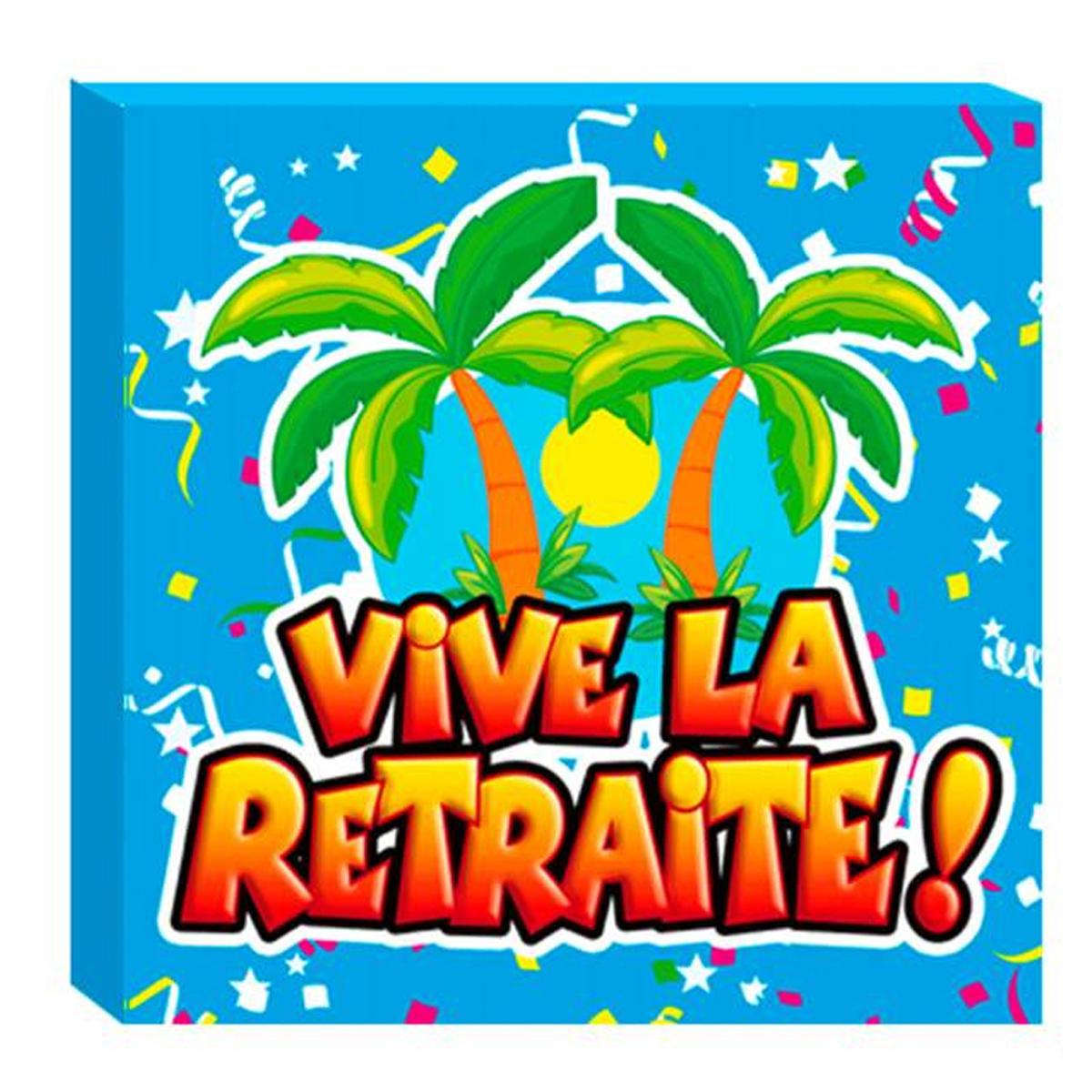Pack de 20 serviettes en papier \'Vive la Retraite !\' multicolore - 165x165 cm - [A0460]