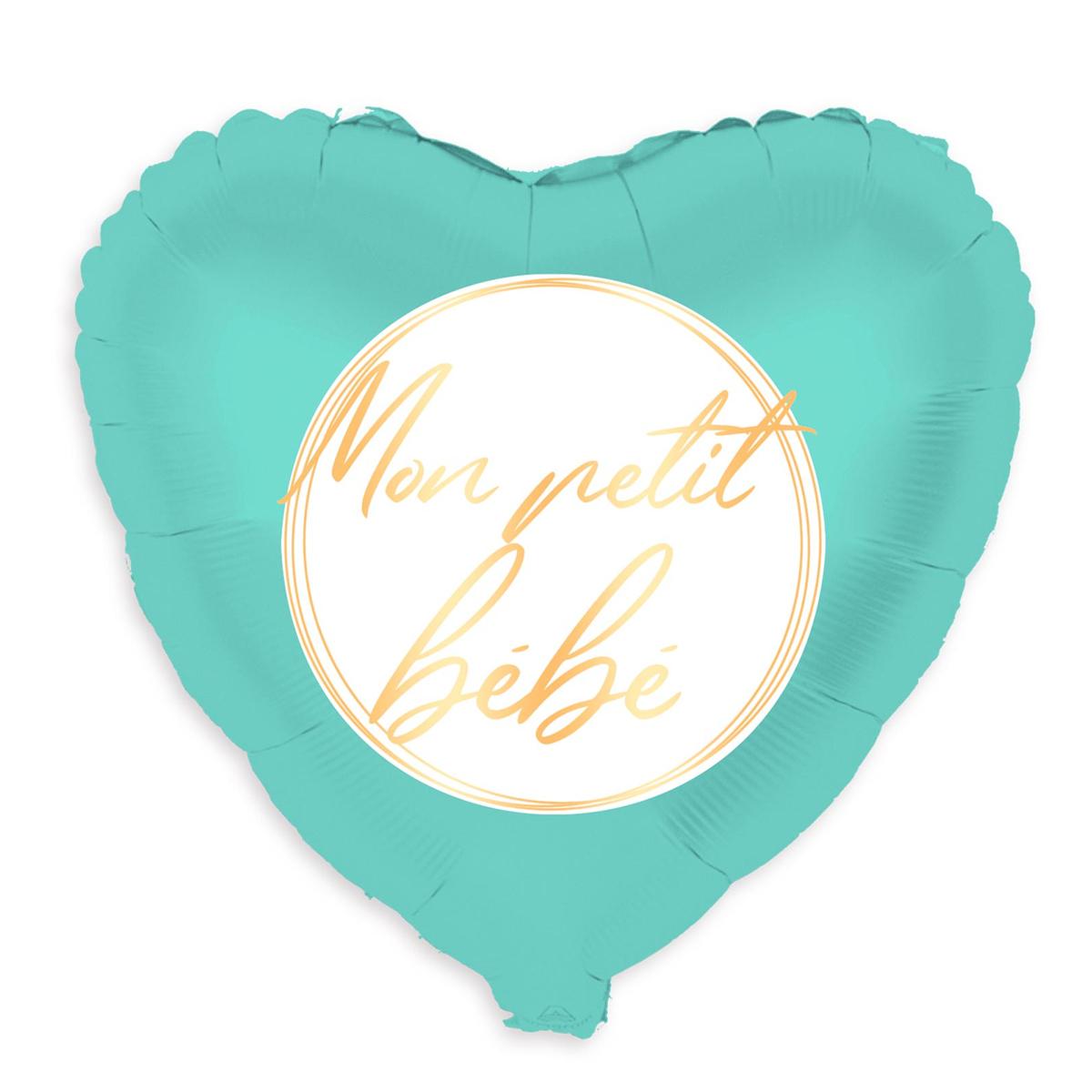 Ballon métallique \'Mon petit bébé\' turquoise - 48 cm - [A0472]