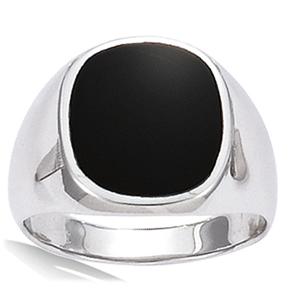 Bague Homme Argent \'King\' noir argenté (rhodié) - 13x15 mm - [G5614]