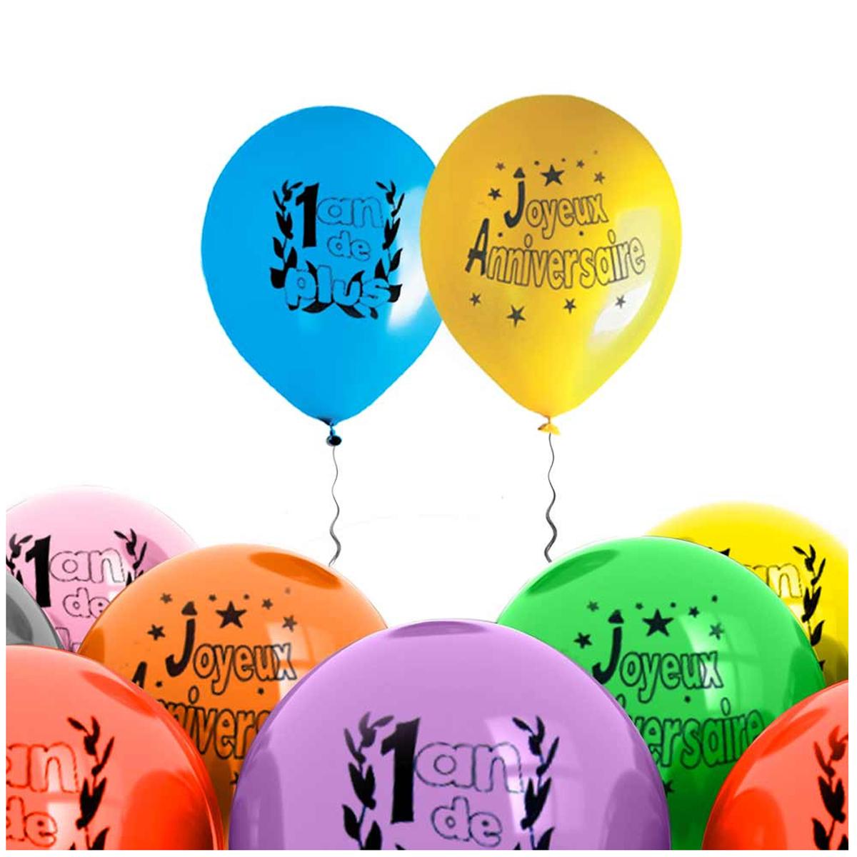 Sachet de 8 ballons \'1 an de plus\' - 30 cm - [H7092]
