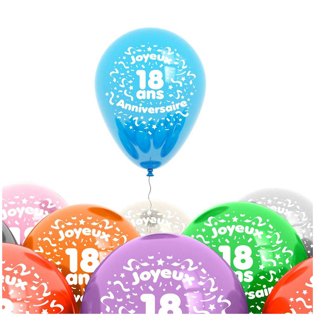 Sachet de 8 ballons \'18 ans\' - 30 cm - [L4185]