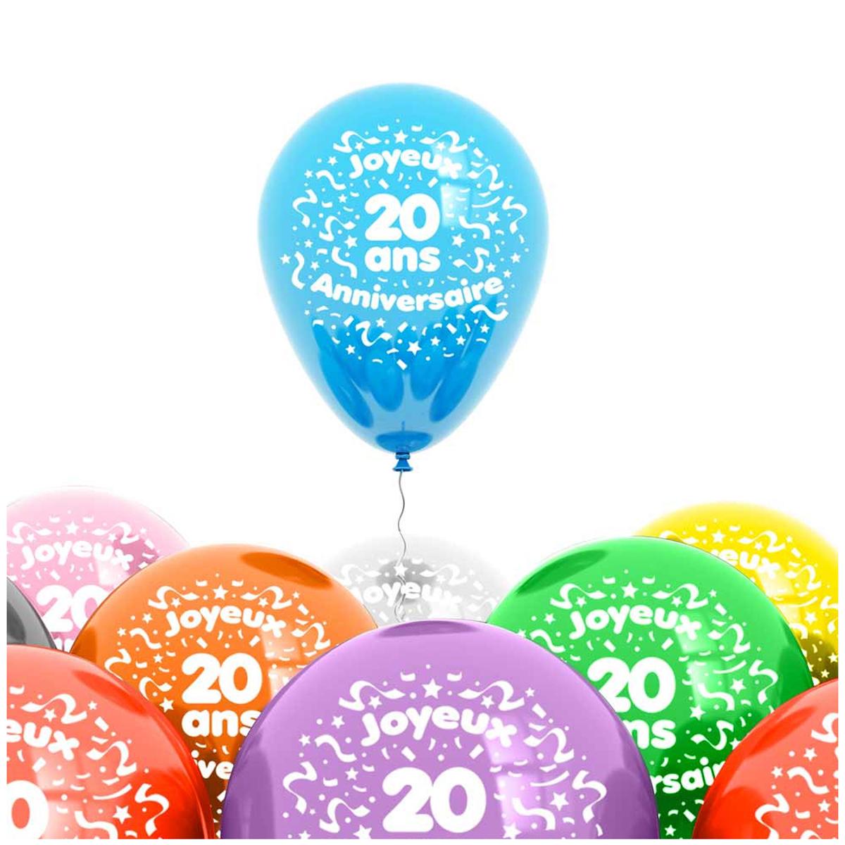 Sachet de 8 ballons \'20 ans\' - 30 cm - [L4186]