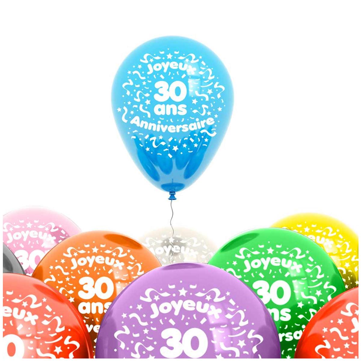 Sachet de 8 ballons \'30 ans\' - 30 cm - [L4187]