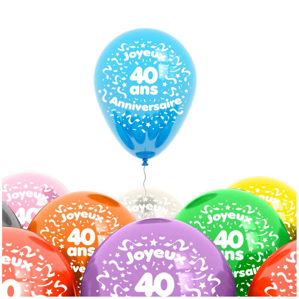 Sachet de 8 ballons \'40 ans\' - 30 cm - [L4188]