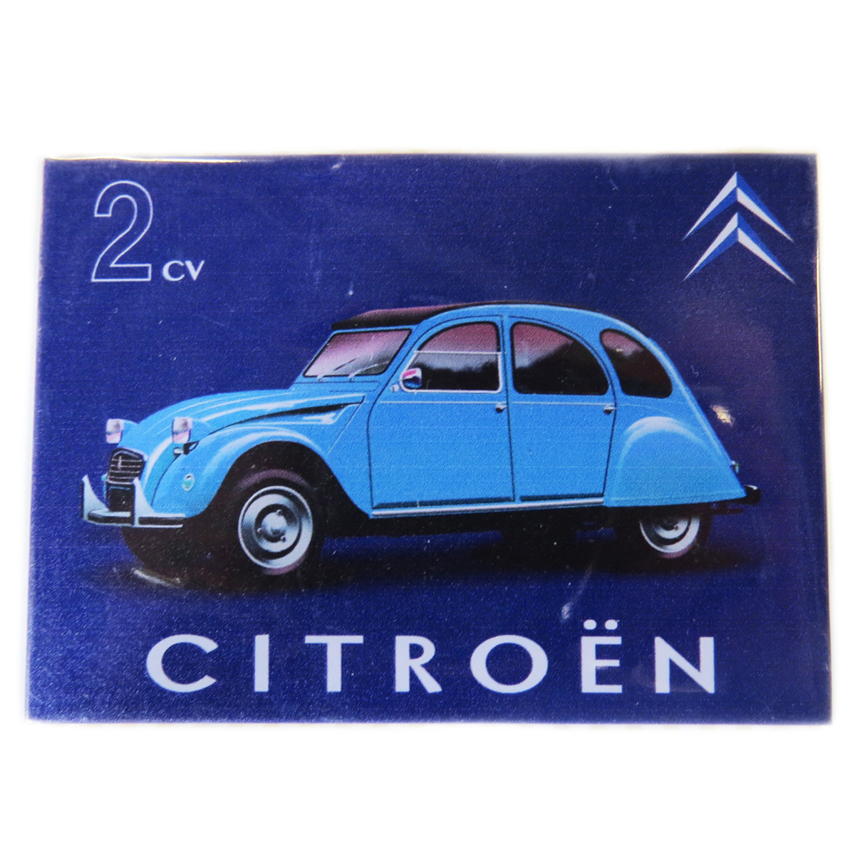 Magnet métal rétro \'Citroen 2 CV\' bleu - 9x65 cm - [Q7452]
