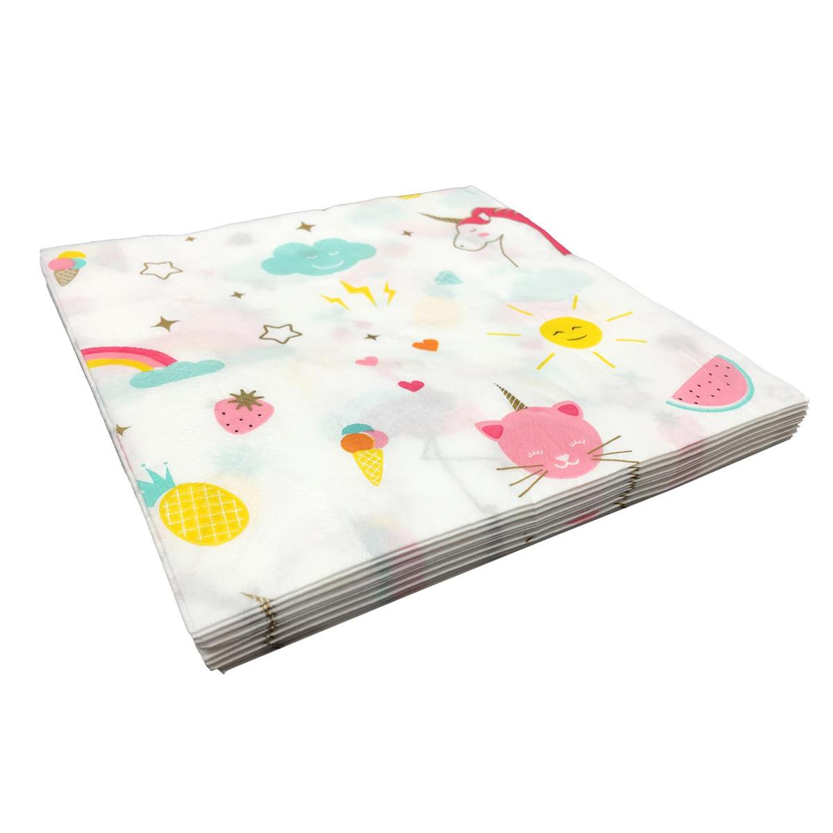 Pack de 20 serviettes en papier \'Licorne My Unicorn\' blanc multicolore - 165x165 cm - [Q7713]