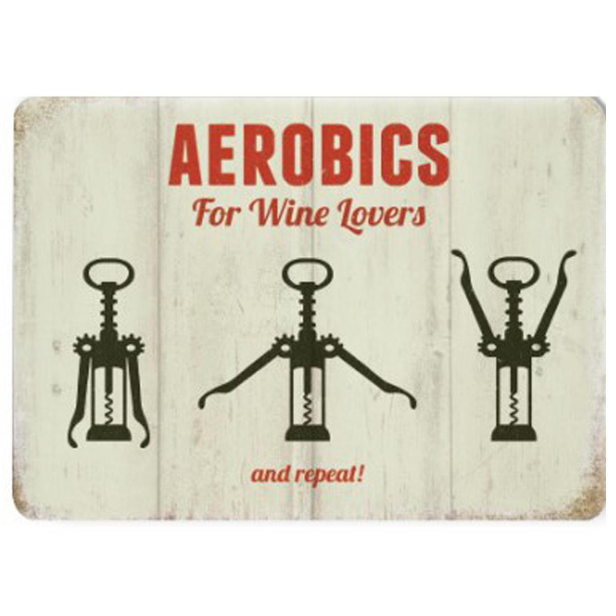Magnet métal rétro \'Aerobics for Wine Lovers\' beige noir - 9x65 cm - [Q9201]