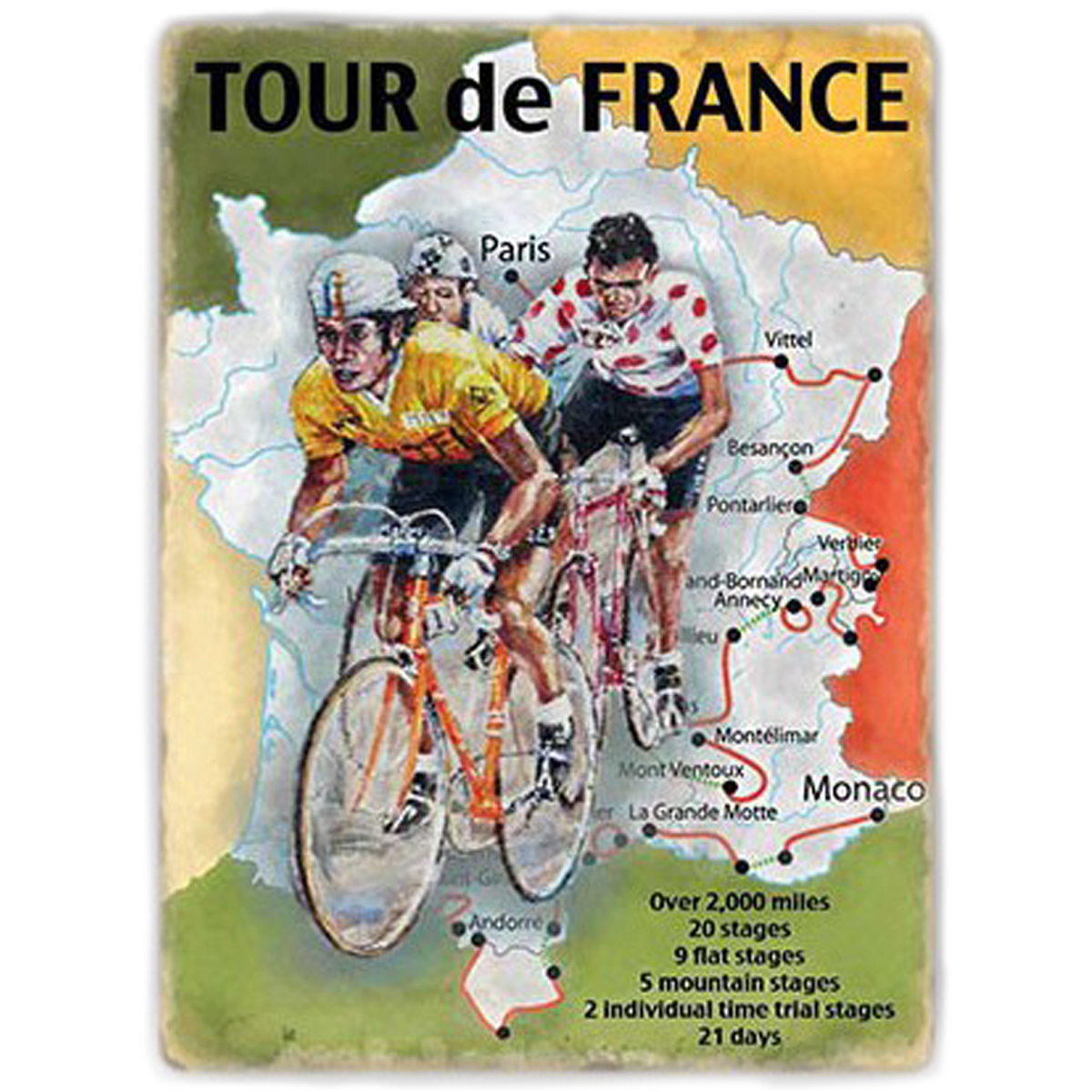 Magnet métal rétro \'Tour de France\' multicolore (carte de France) - 9x65 cm - [Q9202]