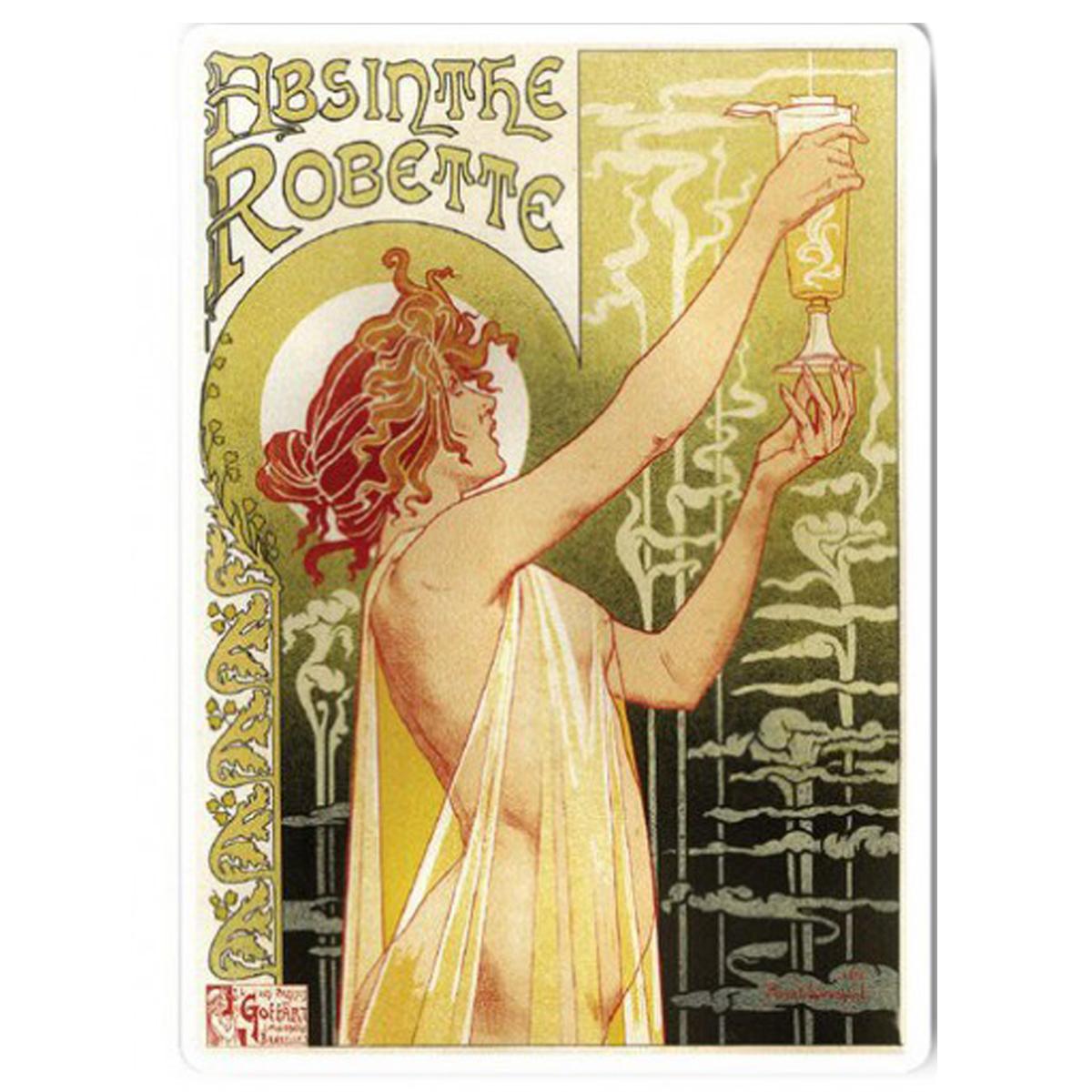 Magnet métal rétro \'Absinthe Robette\' beige (art nouveau) - 9x65 cm - [Q9204]