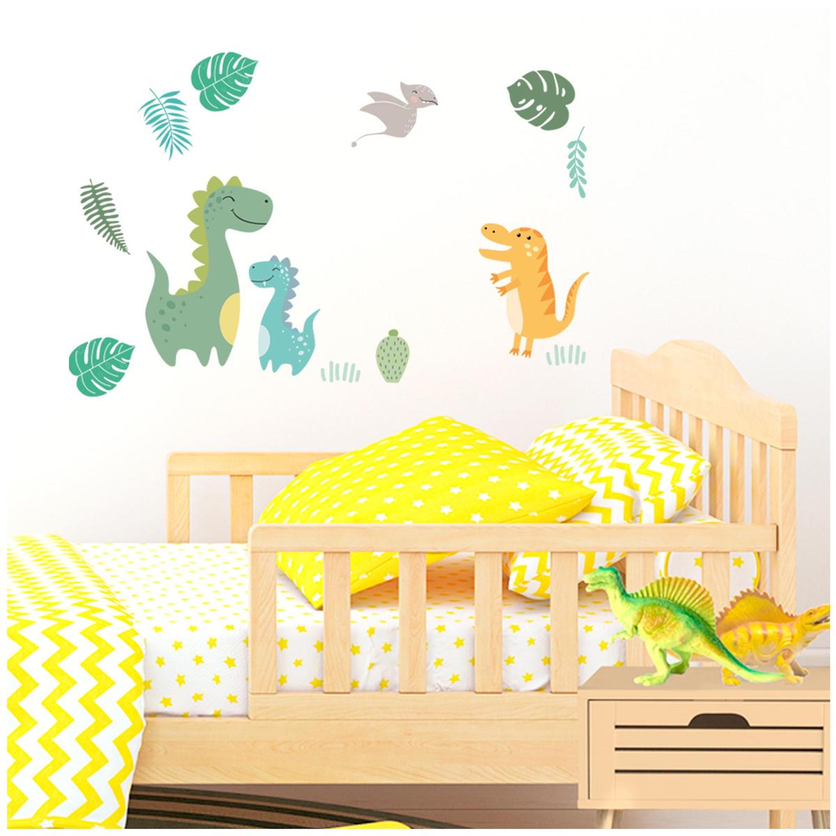 3 planche de stickers \'Dinosaures\' vert - 30x13 cm - [R3415]