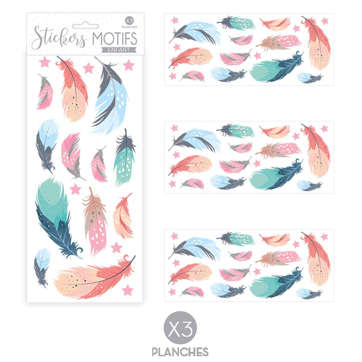 3 planche de stickers \'Plumes\' bleu vert rose - 30x13 cm - [R3418]