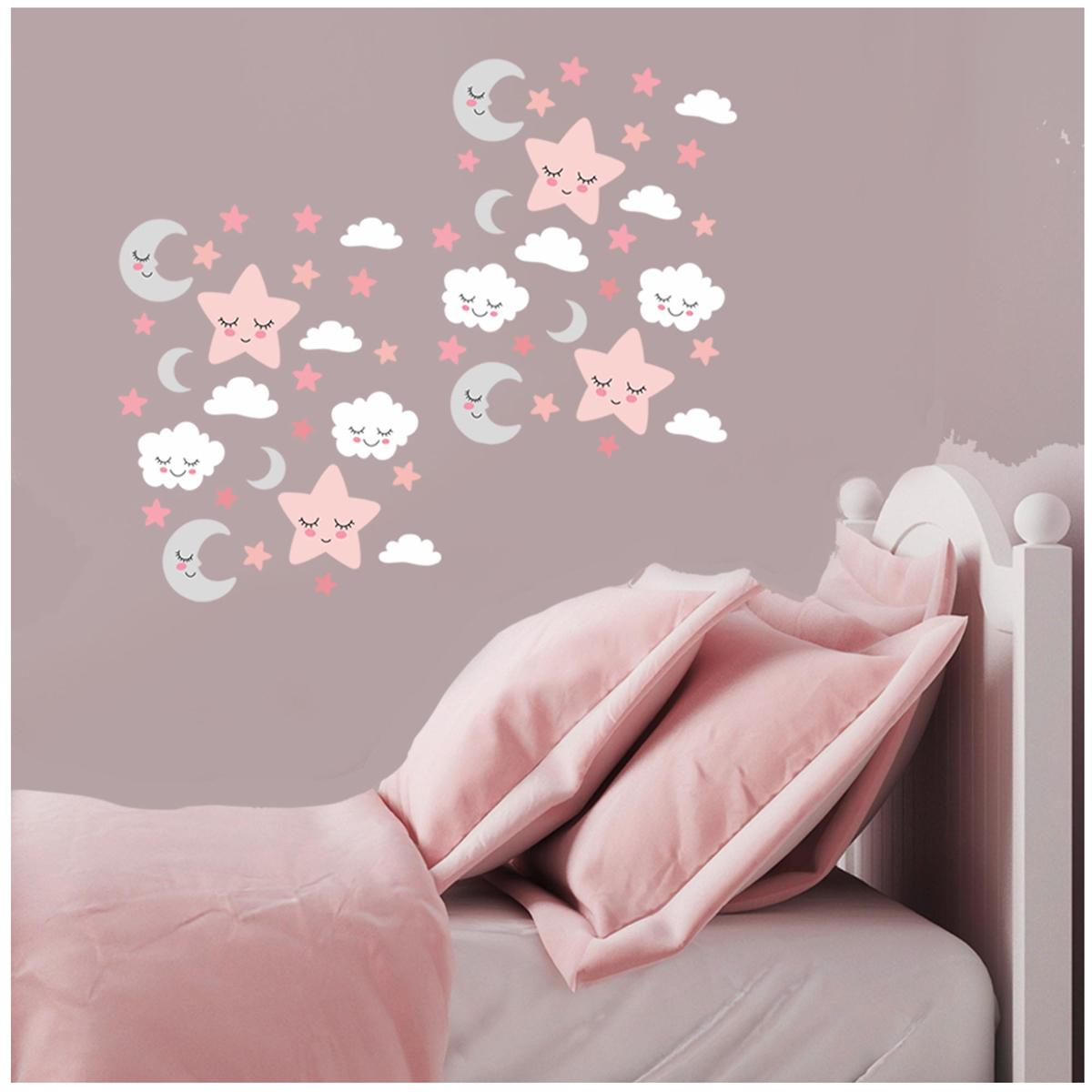3 planche de stickers \'Etoile Nuage Lune\' rose blanc gris - 30x13 cm - [R3419]