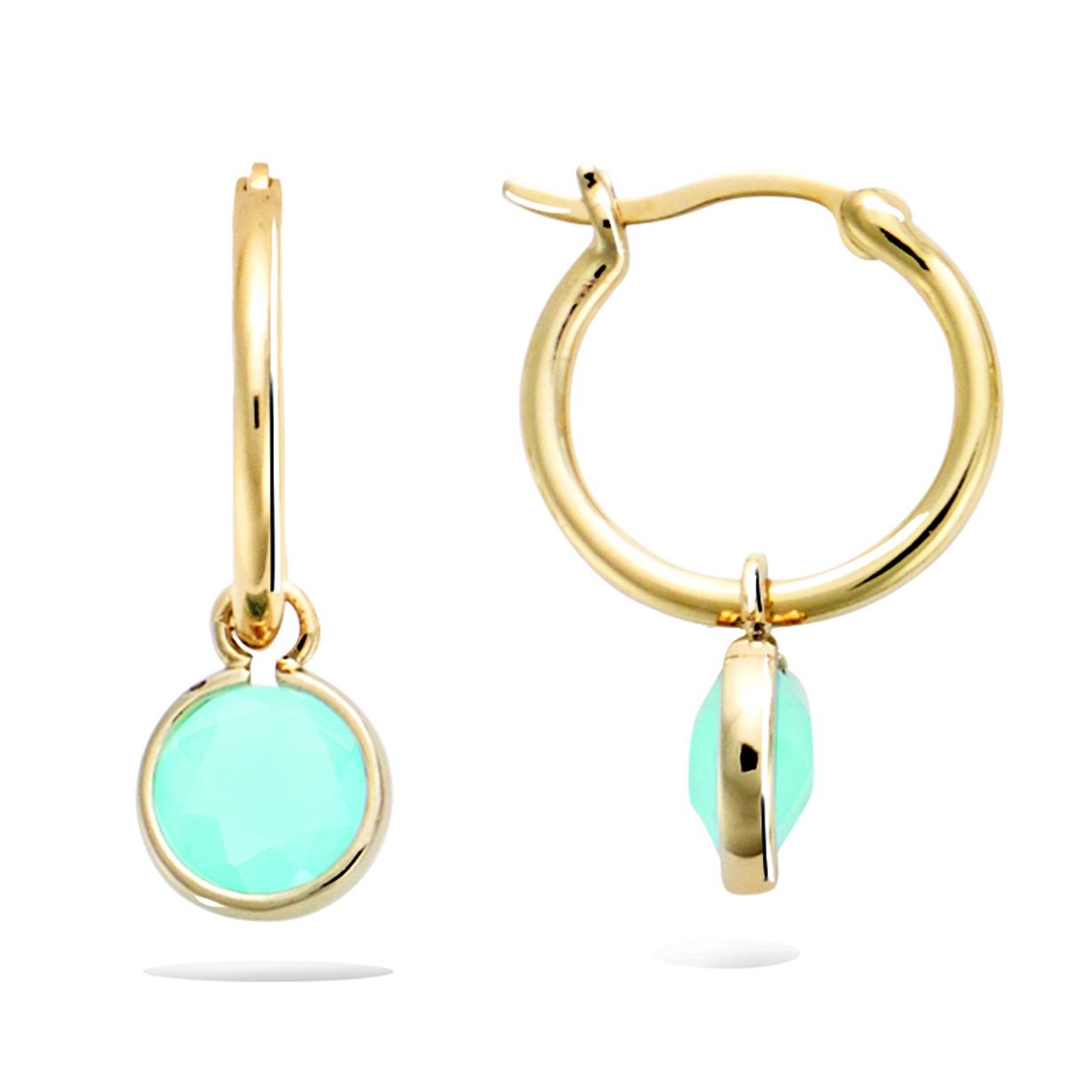 Créoles Plaqué Or \'Cleapatra\' turquoise doré - 15 mm 8 mm - [R3422]