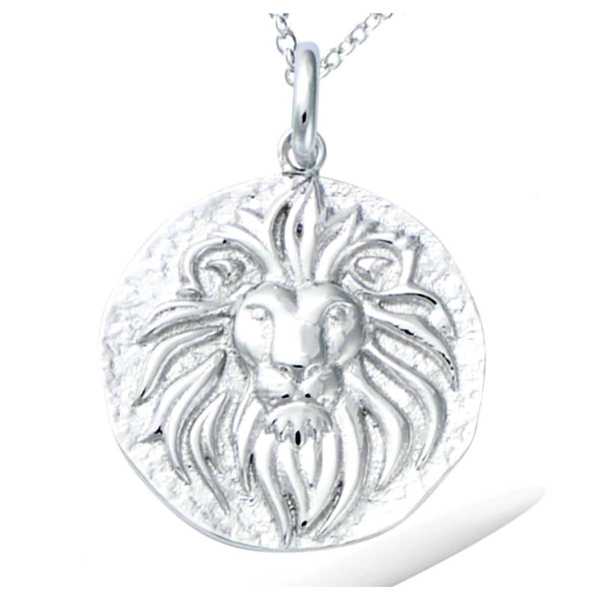 Pendentif argent \'Lion\' argenté (rhodié) - 20 mm - [R3431]