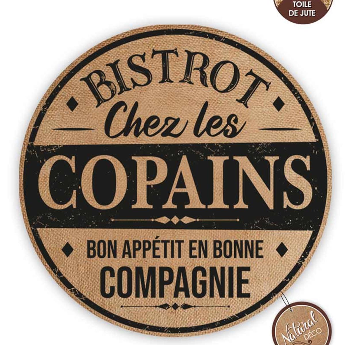 Set de table toile de jute \'Bistrot Chez les Copains\' beige noir - 38 cm - [A0664]