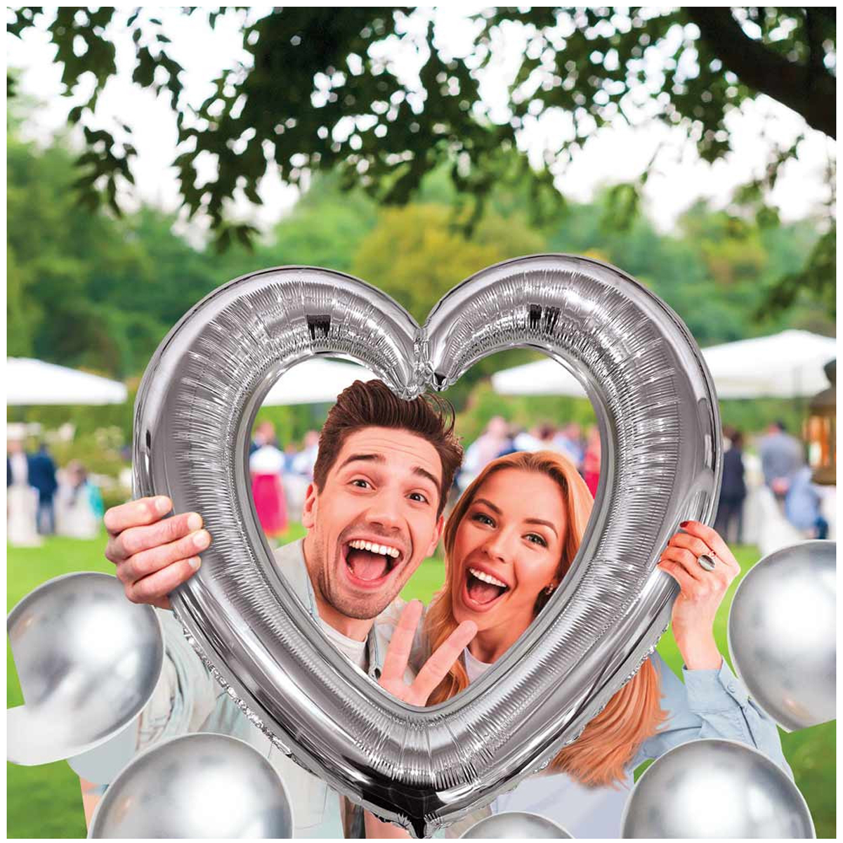 Ballon métallique cadre photobooth \'Coeur\' argenté - 61x63 cm - [A0685]