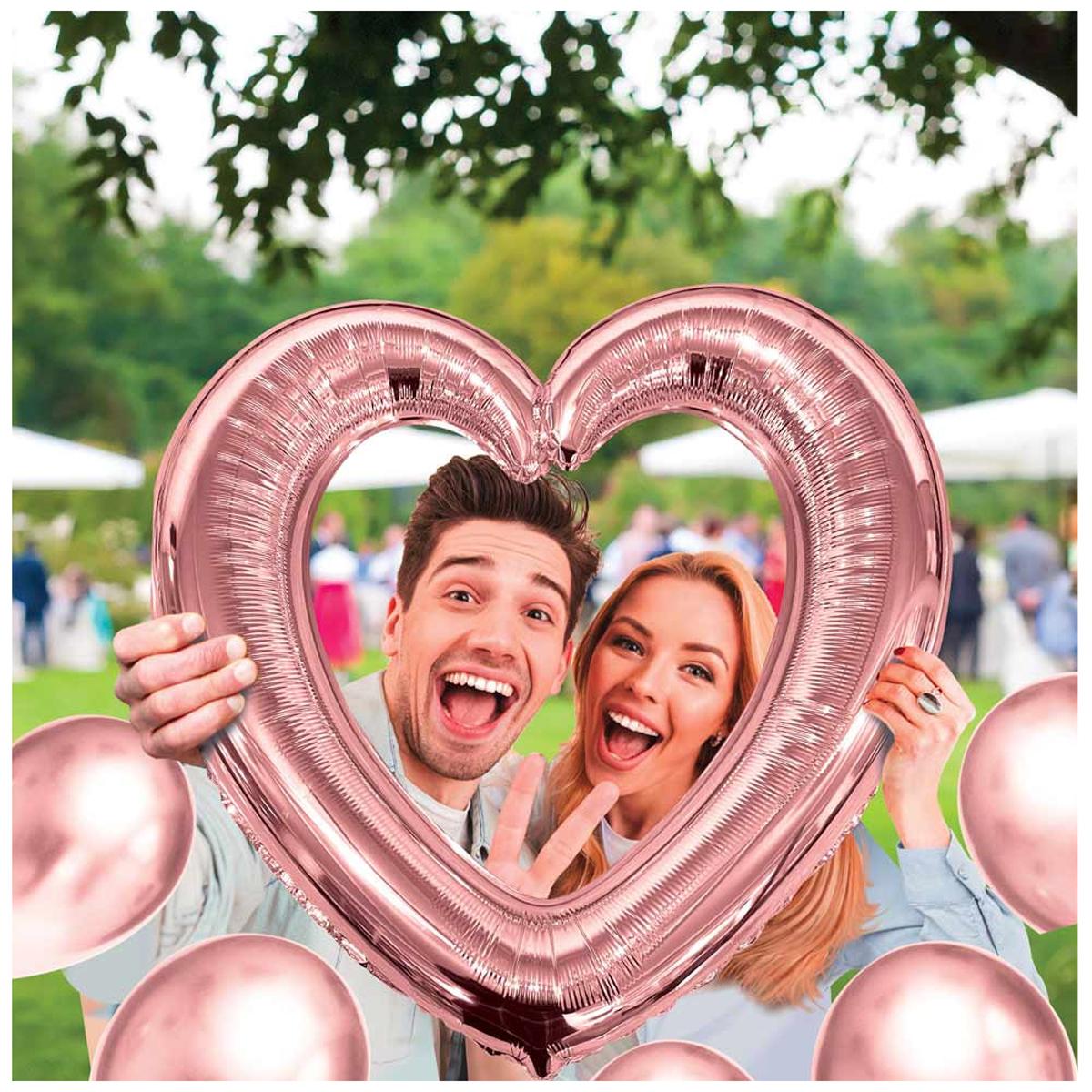 Ballon métallique cadre photobooth \'Coeur\' rosé (pink gold) - 61x63 cm - [A0686]