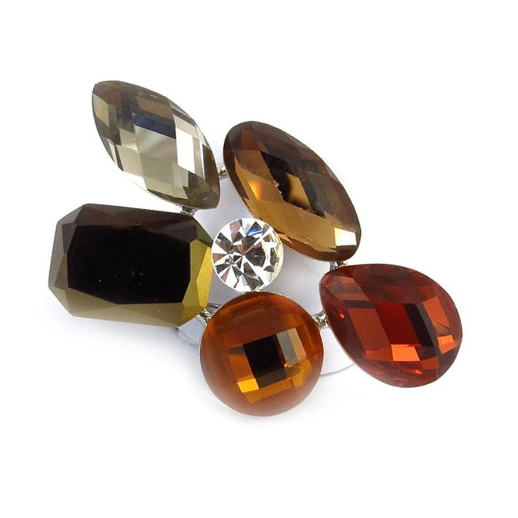 Broche créateur \'Sissi\' ambre - 50x30 mm - [R3270]