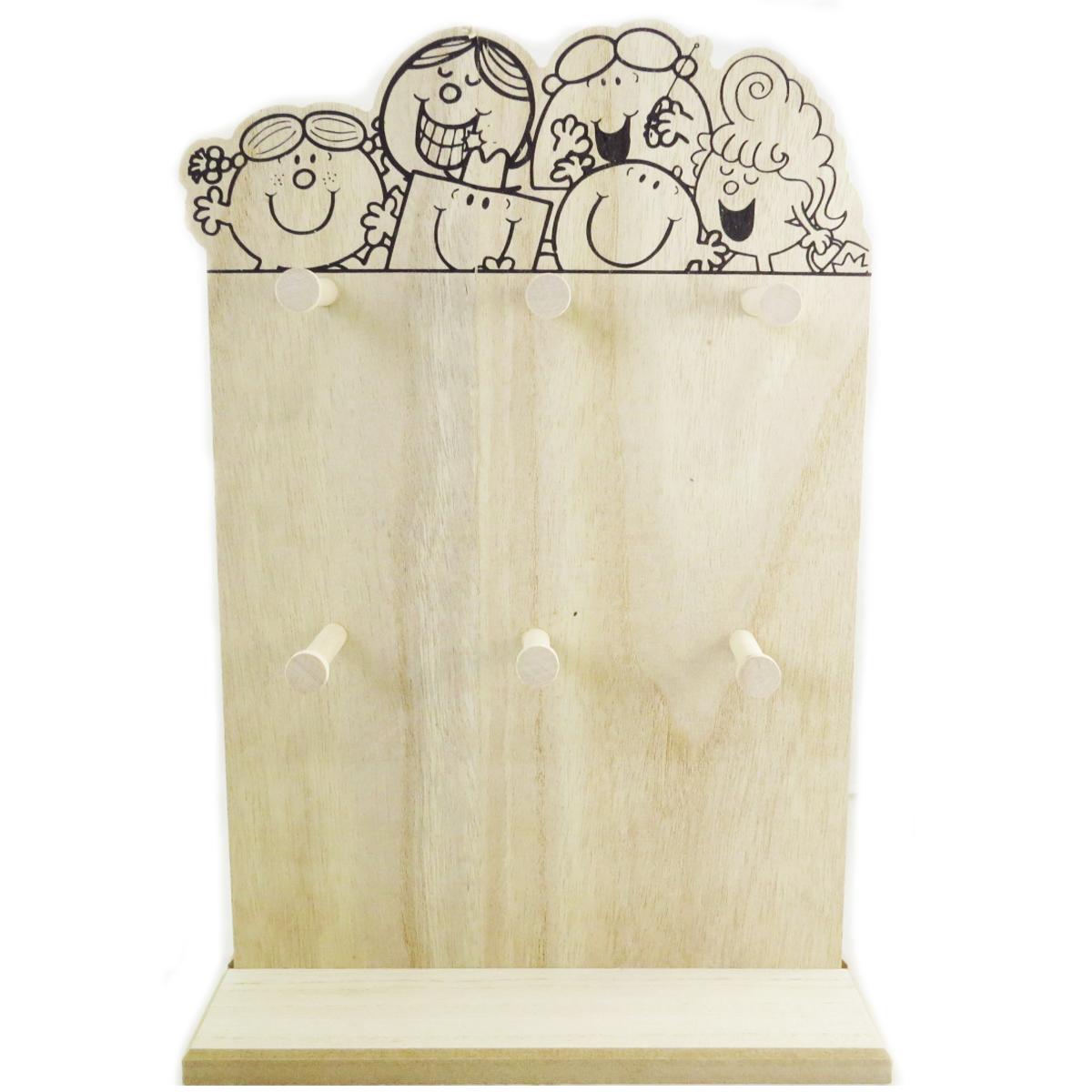 Porte-bijoux bois \'Monsieur Madame\' beige (6 crochets) - 37x25x10 cm - [A0699]