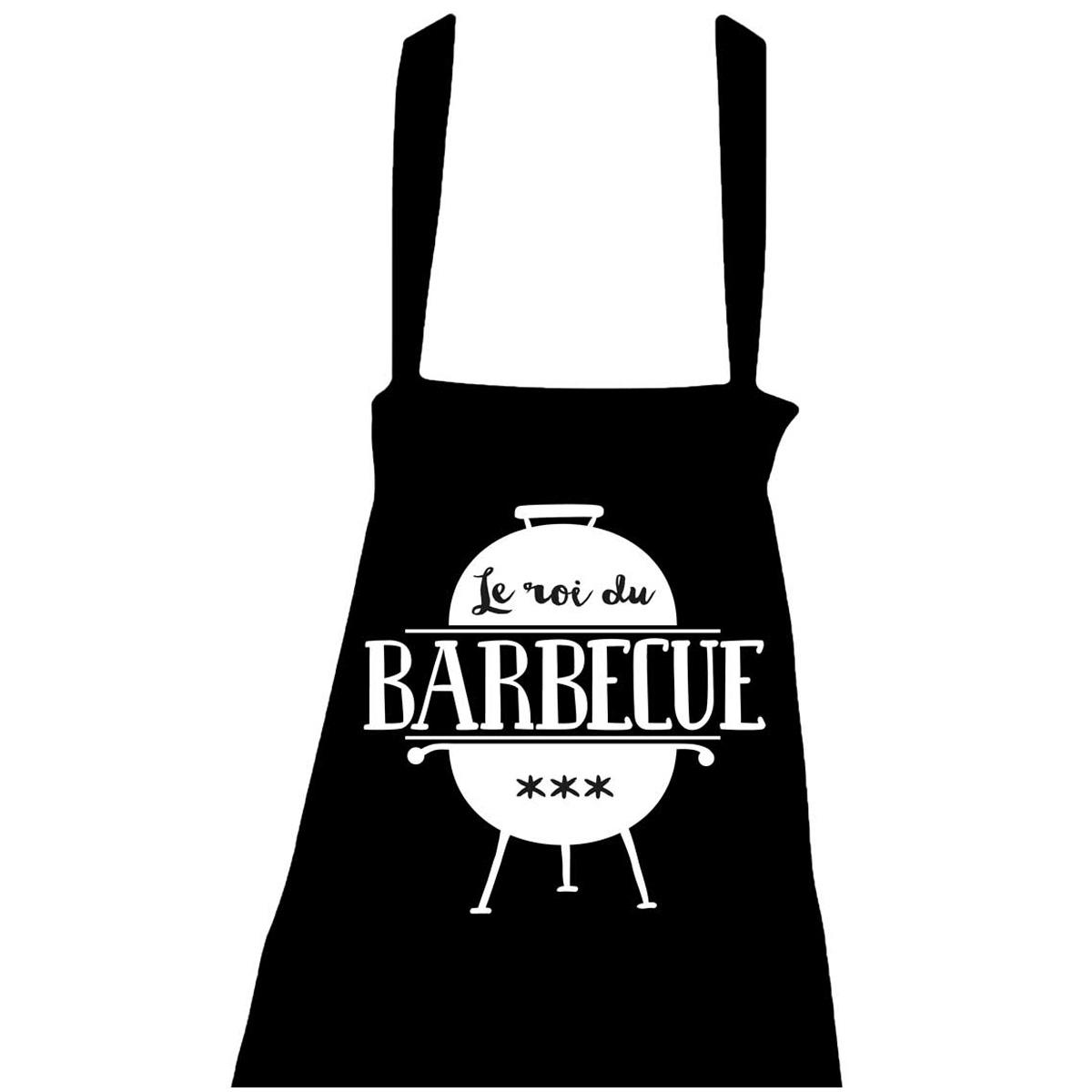 Tablier coton \'Messages\' noir (Le roi du Barbecue - barbecue) - taille unique - [R1449]
