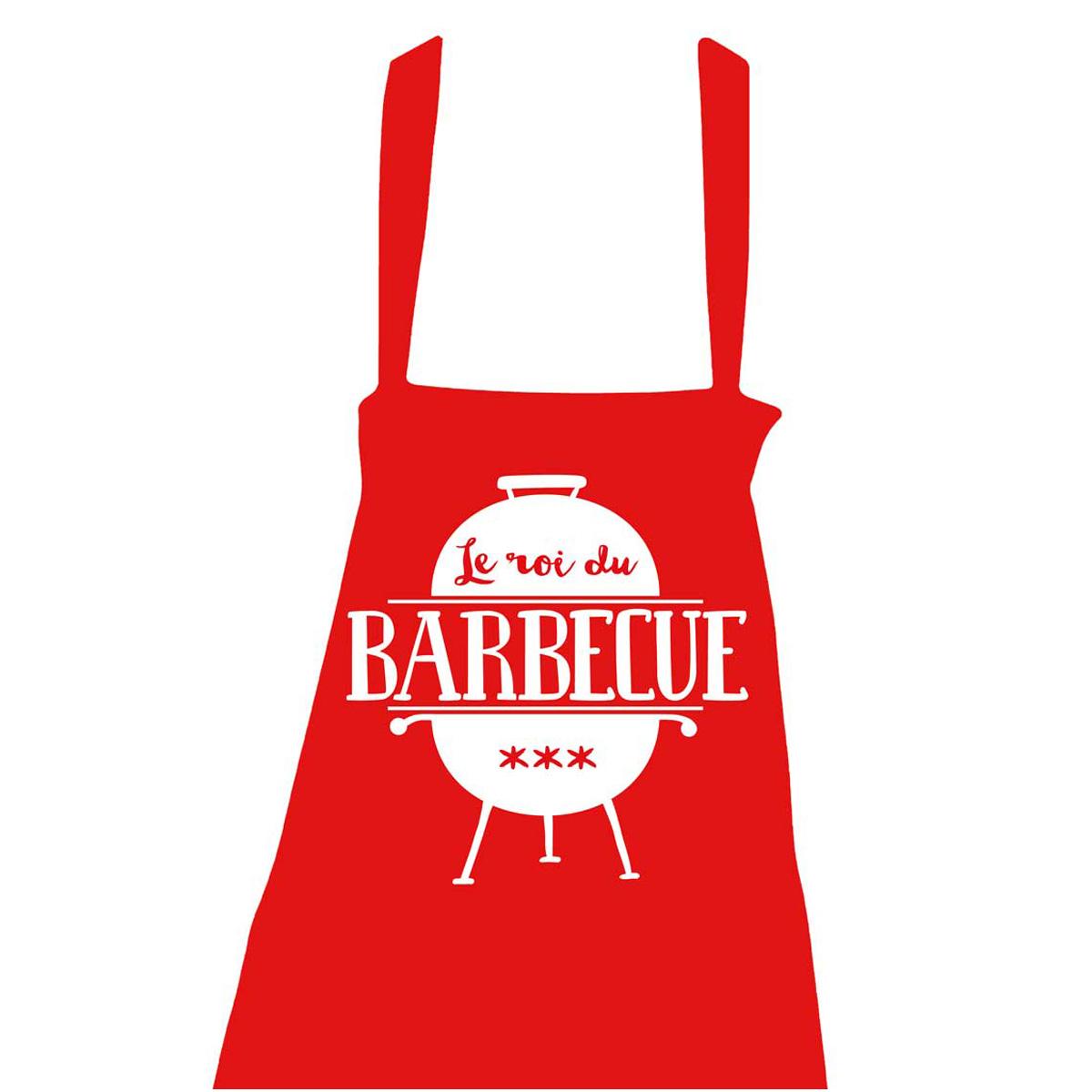 Tablier coton \'Messages\' rouge (Le roi du Barbecue - barbecue) - taille unique - [R1453]