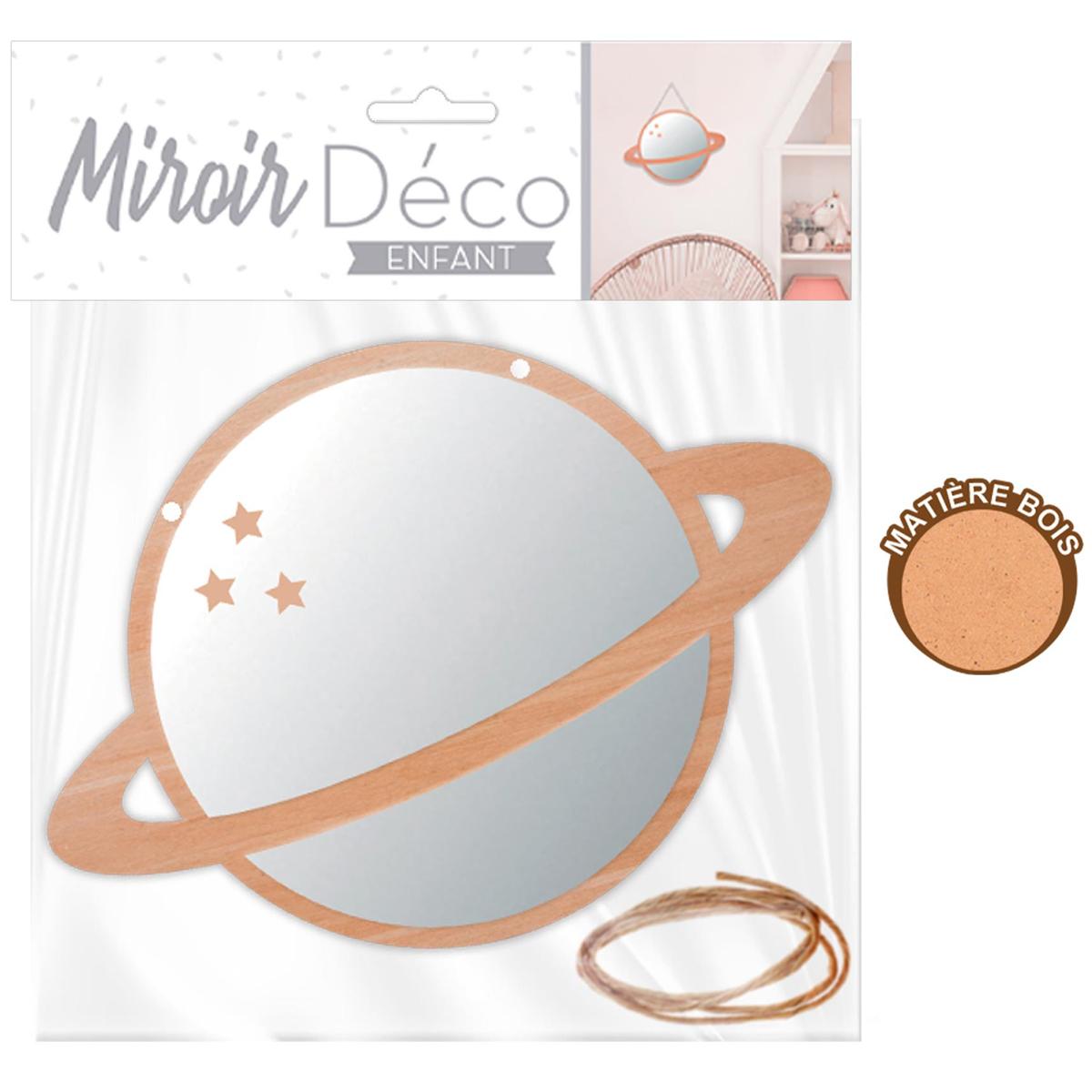 Petit miroir déco bois \'Planète\'  - 15 cm - [A0726]