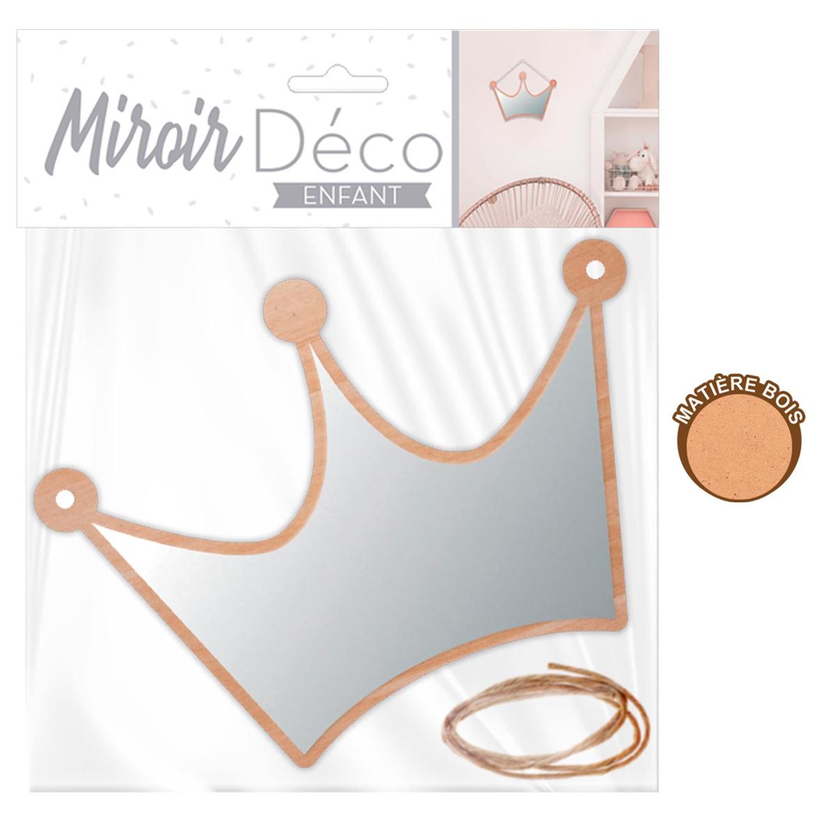 Petit miroir déco bois \'Couronne\'  - 18x15 cm - [A0729]