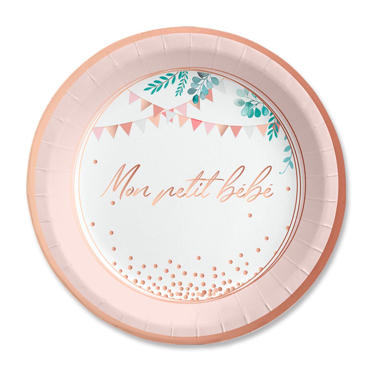 Pack de 6 assiettes \'Baby Shower\' rose - 23 cm (Mon petit bébé) - [A0746]