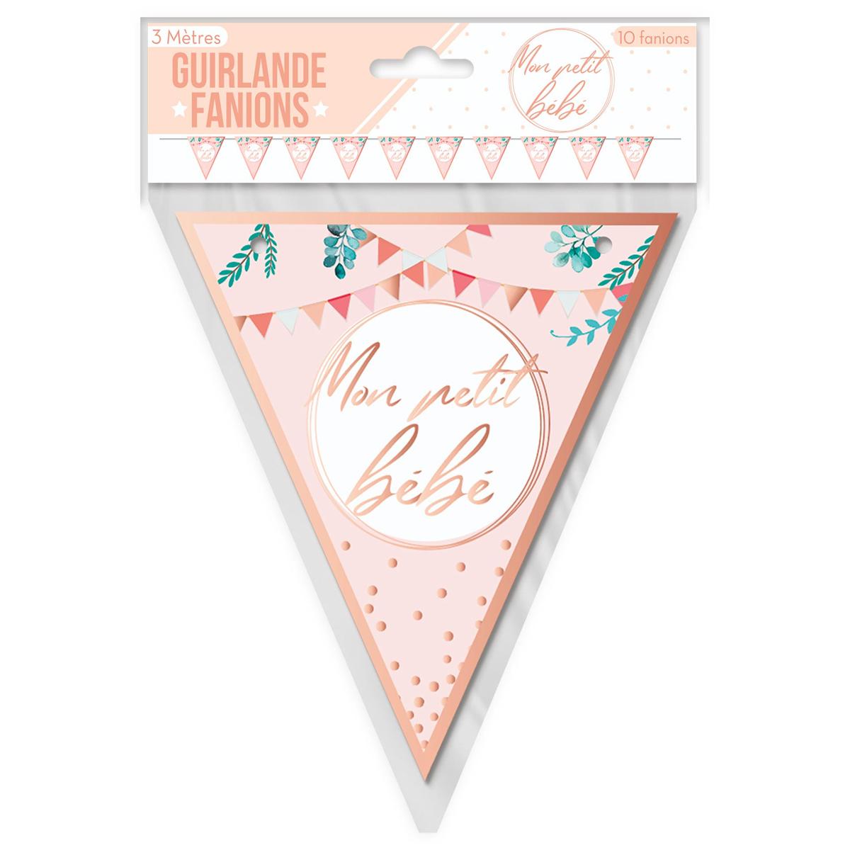 Guirlande \'Baby Shower\' rose (Mon petit bébé) - 3 m 17 cm - [A0749]
