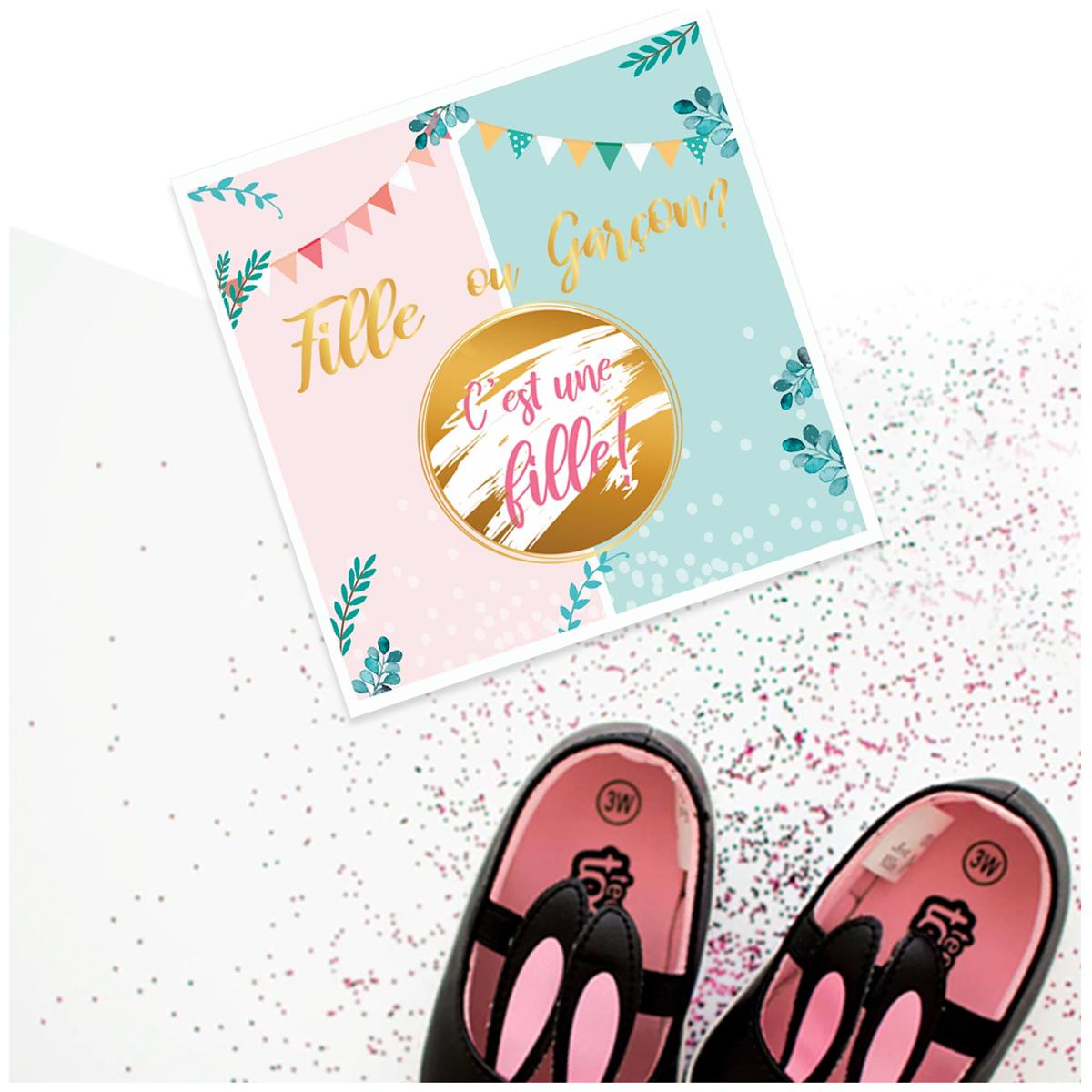 Set de 6 cartes à gratter \'Baby Shower\' (c\'est une fille !) - 14x14 cm - [A0752]
